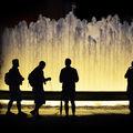 noční kašna na Manhattanu
