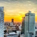 Západ slunce nad Varšavou