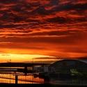 Západ slunce nad letištěm