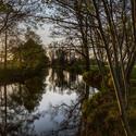 Řeka Opava při západu slunce