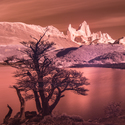 Mt. Fitz Roy in red