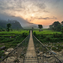 Východ slunce nad rýžovým polem - Nepál