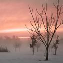 Zasněžený a mlhavý západ slunce