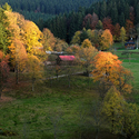 Podzimní valašské paseky při západu slunce....