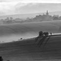Ranní mlha se přelévá přes políčka kolem Věteřova, náhodný záběr