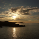 Západ slunce nad severním pobřežím Skotska