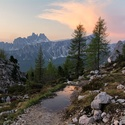 Svítání u Cinque Torri