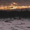 Západ slunce nad Soumarským rašeliništěm