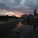 Přepeřský jez, po západu slunce.