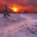 Rudý východ slunce v Jeseníkách