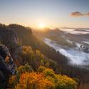 Mlhavé ráno v Českém Švýcarsku