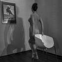 Obraz, dívka, židle