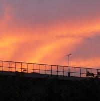 Nuselský most při západu slunce