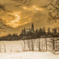 Západ slunce nad Barokním poutním kostelem