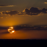 Západ slunce z Žižkovské věže
