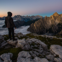 Tre Cime sunrise climber