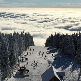 Pohled z rozhledny na Černé Hoře.