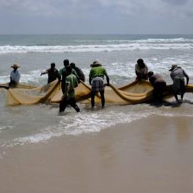 Rybáři na pobřeží