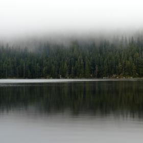 Černé jezero v mlze