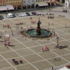 """České Budějovice, panorama z Černé Věže pohledem """"rybího očka"""" Olympus Cap Lens 9mm"""