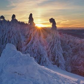 Východ slunce v Beskydech