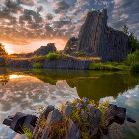 Panská skála při východu slunce