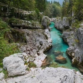 Modrozelená řeka Soča