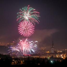 Třebíčský novoroční ohňostroj 2015