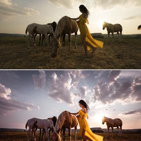 Západ slunce na ranči