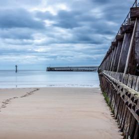 ranní procházka po pláži, Blyth, Nothumberland