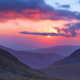 západ slunce v Rumunsku