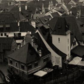 Český Krumlov v dešti