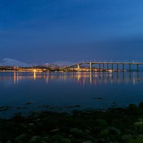 Noční focení ve městě Tromso (Norsko)
