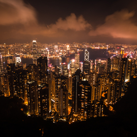 noční Hongkong