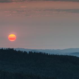 východ slunce nad Jeseníky