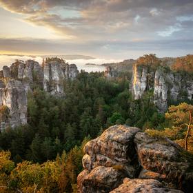 Svítání na Janově vyhlídce, Hruboskalsko, Český ráj