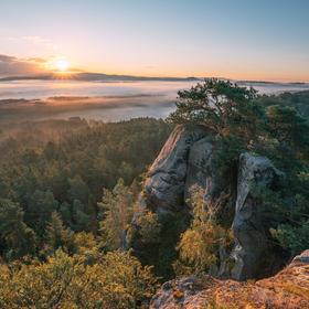 Východ slunce v Příhrazích v 5 ráno, Stará Hrada, Český ráj