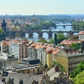 Pražské mosty z Kramářovi vily