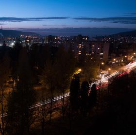 Noční foto z balkóna
