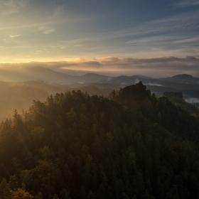 Východ slunce v Českém Švýcarsku :)