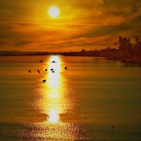 Podzimní slunce na rybníku Kateřina