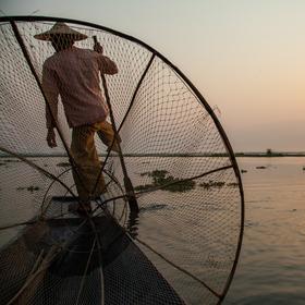 Rybári na Inle lake