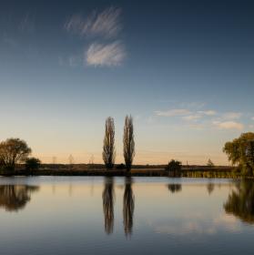 Západ slnka pri rybníkoch