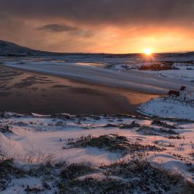 východ slunce nad Úlfljótsvatn