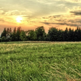 západ slunce na Chmelišti