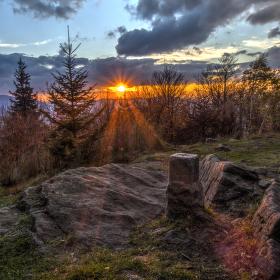 Západ slunce na Ondřejníku.