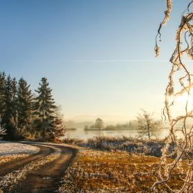 Zimní západ slunce u Záboří