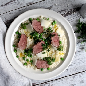 Italské risotto s hráškem a kachním prsem