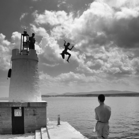 Jumping with lighthouse