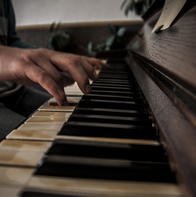 playing the piano..